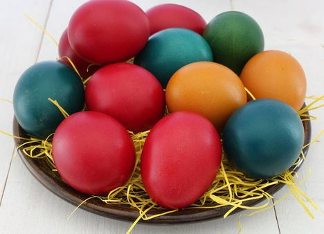Colored Easter Eggs for an Easter Basket