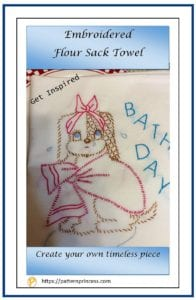 Embroidered Flour Sack Towel 1