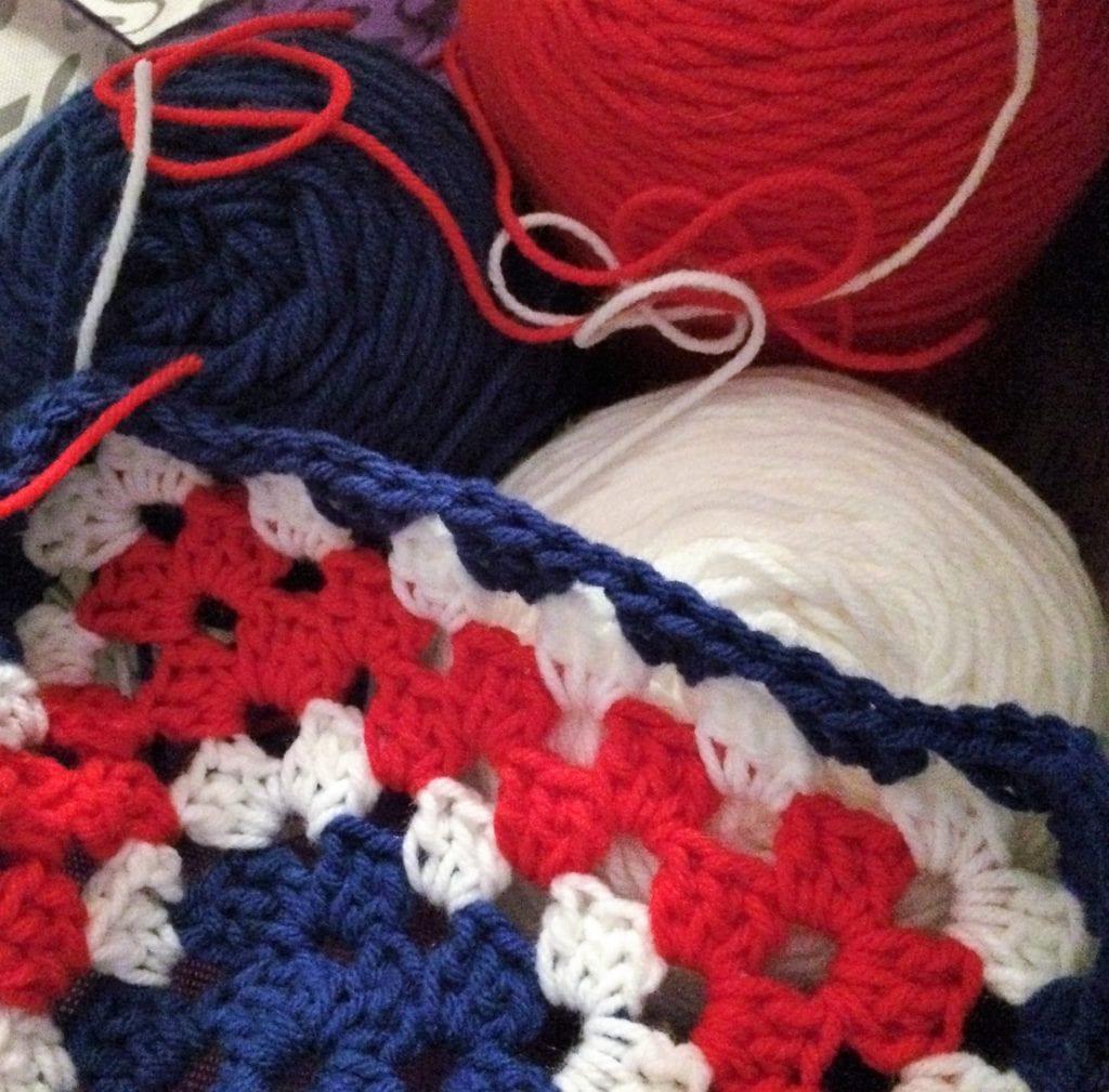 Beginning Granny Square and Yarn