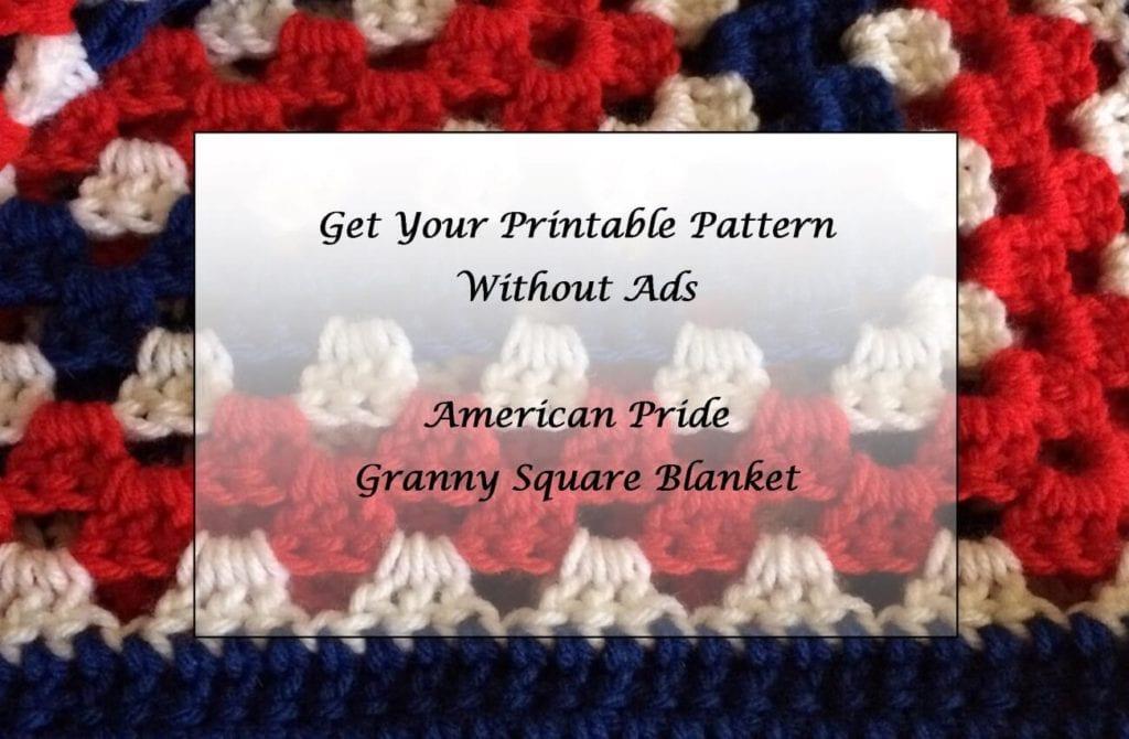 American Pride Granny Square Blanket printable