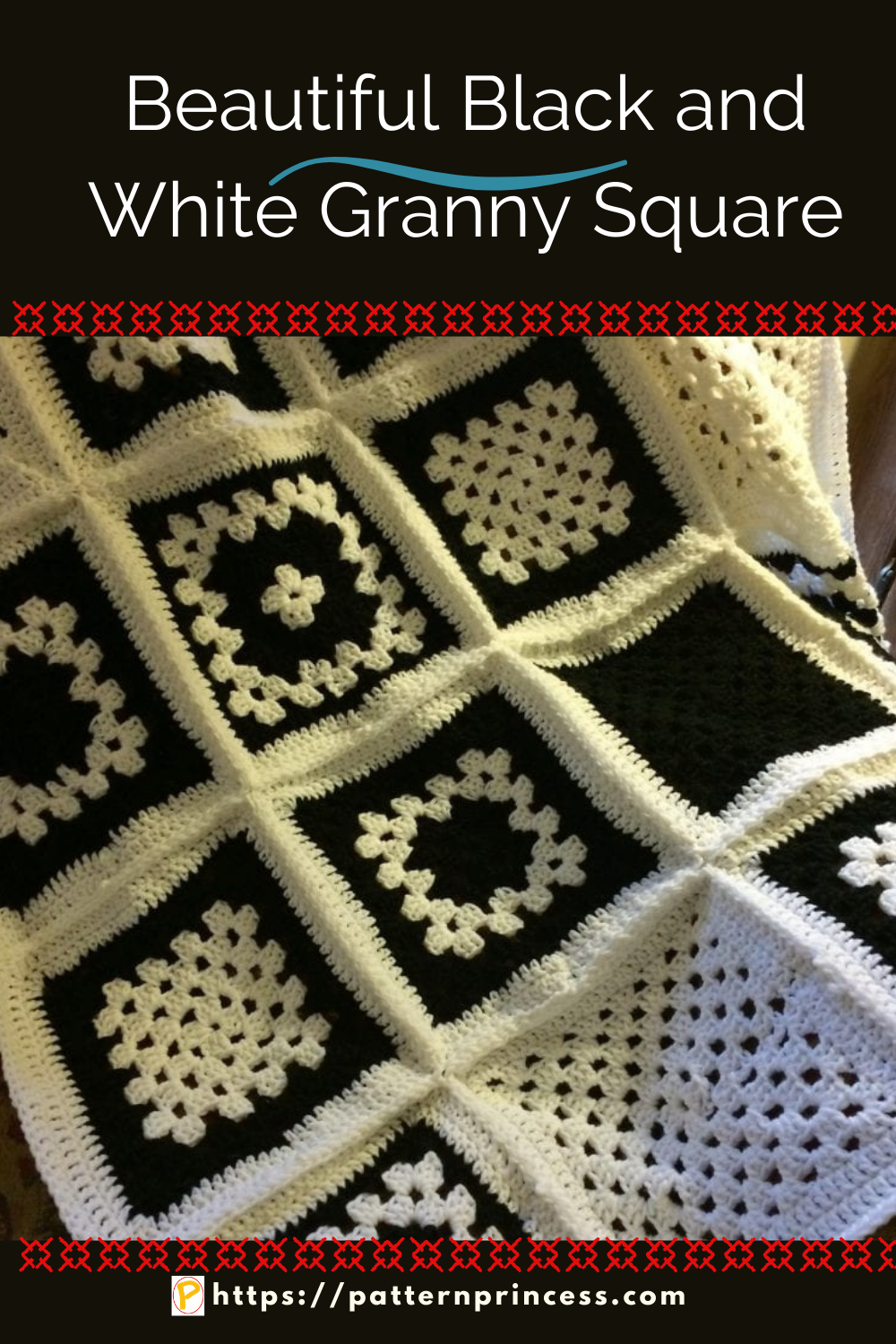 Beautiful Black and White Granny Square