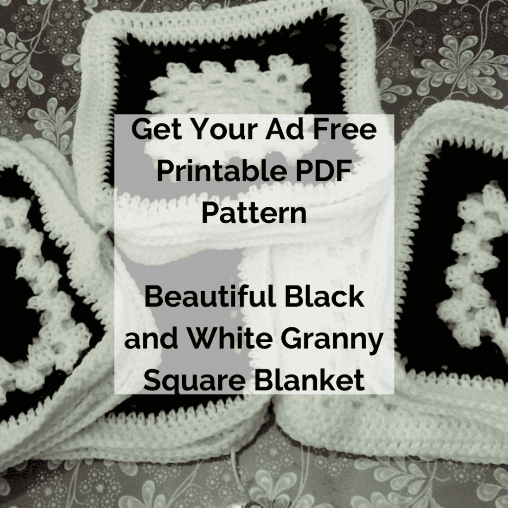 Get Your Ad Free Printable PDF Pattern Beautiful Black and White Granny Square