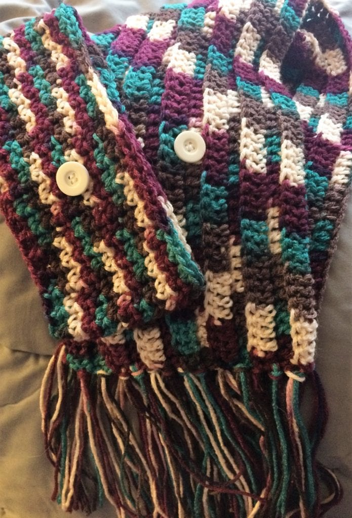 Scarf color blocked with Antique yarn
