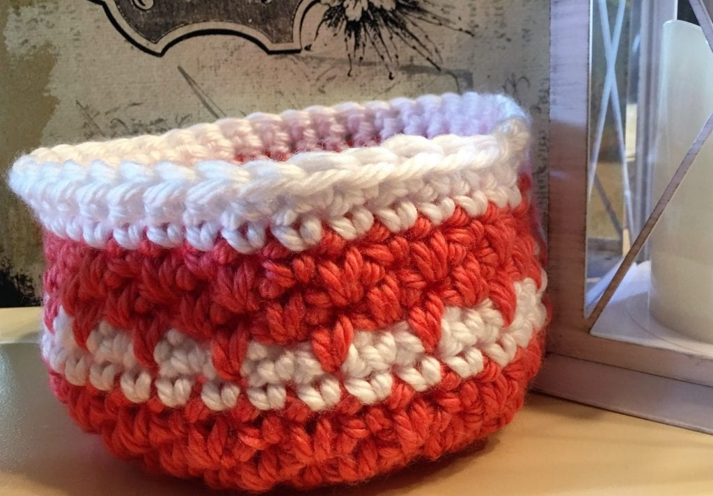 Coral basket with spike stitch