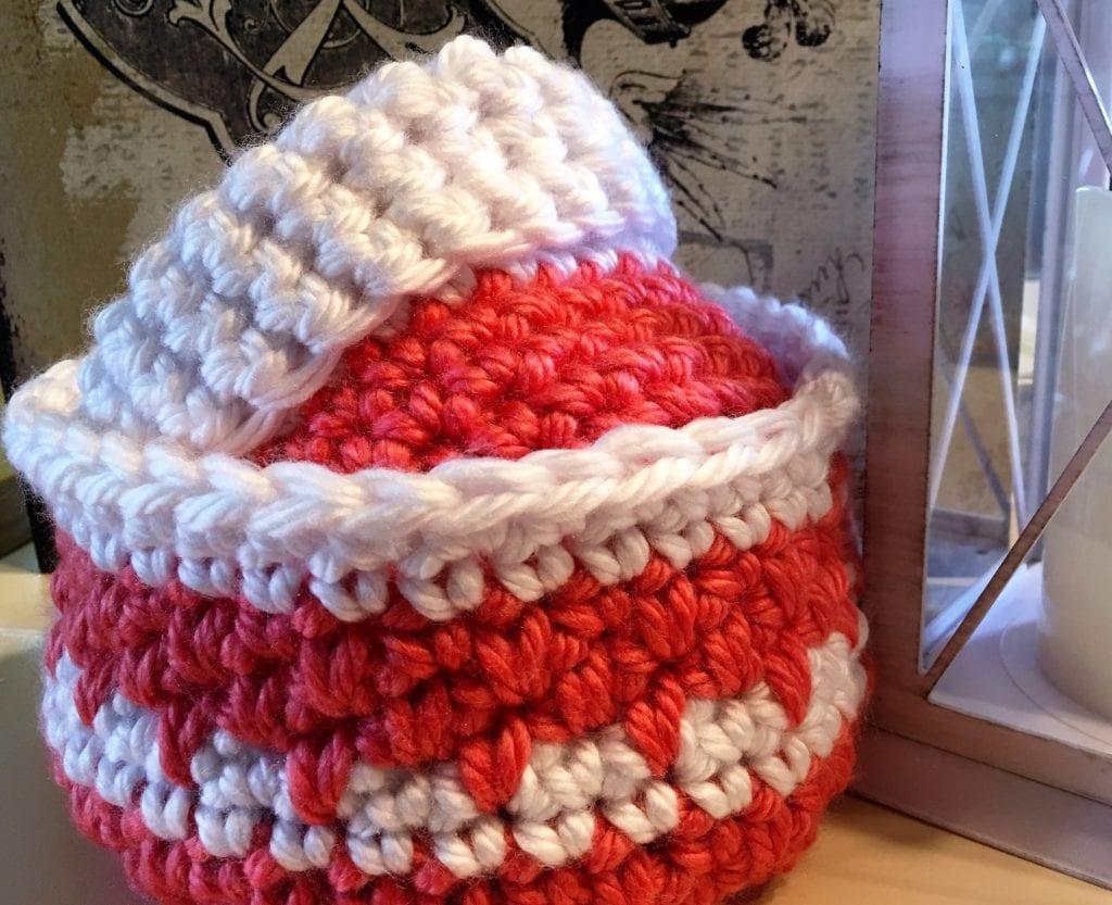 Coral crochet baskets display