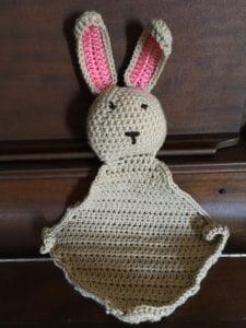 Tan bunny crochet blankie