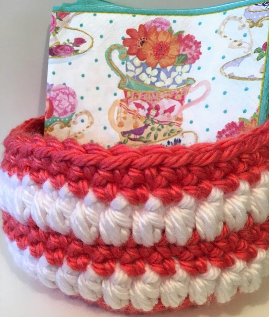 Six inch coral crochet basket