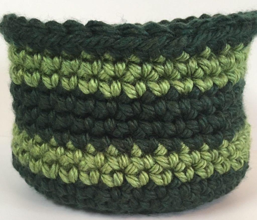 Vermont Green-Oklahoma City Green crochet basket