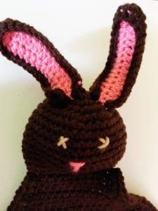 Brown crochet bunny blanket