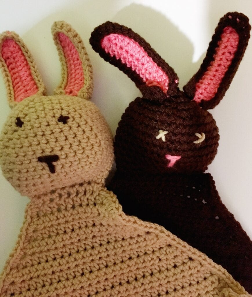 Tan and Brown Crochet  Bunnie Blankie