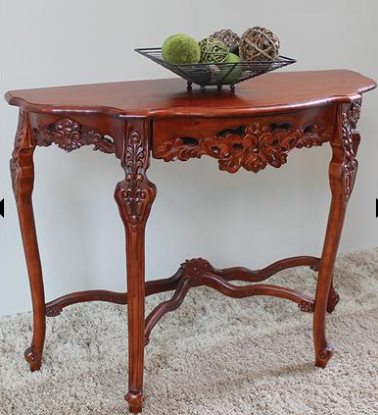 Windsor Carved Wood Console Table