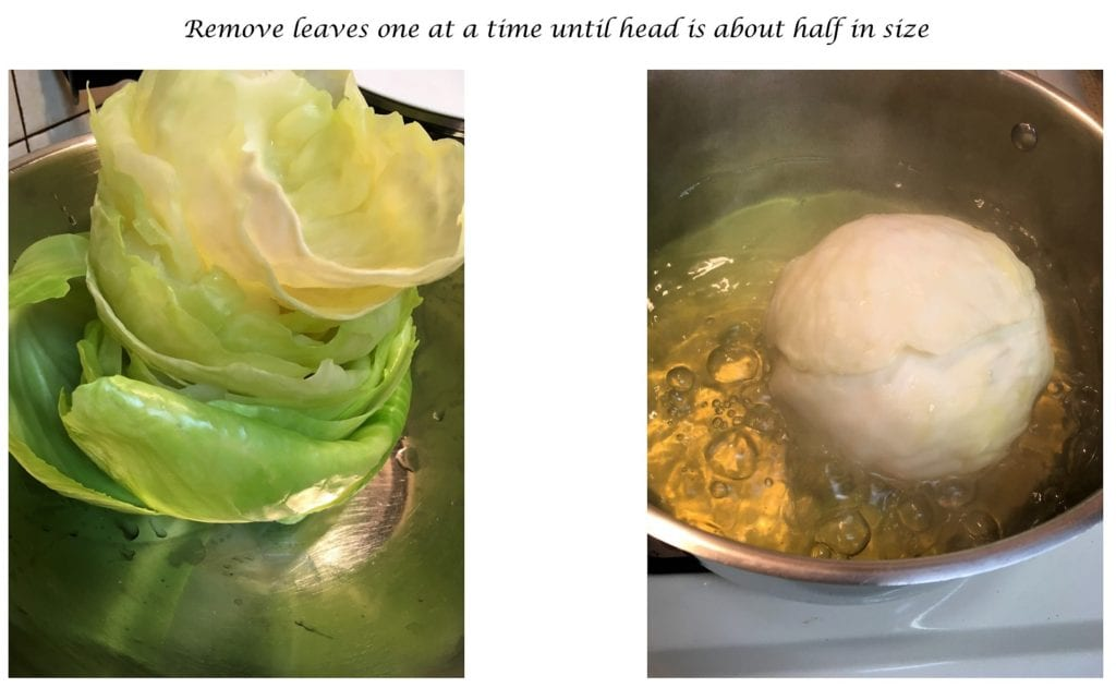 Removing cabbage leaves