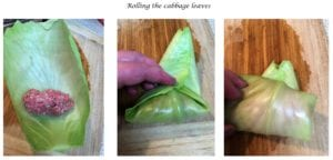 Rolling the cabbage leaves