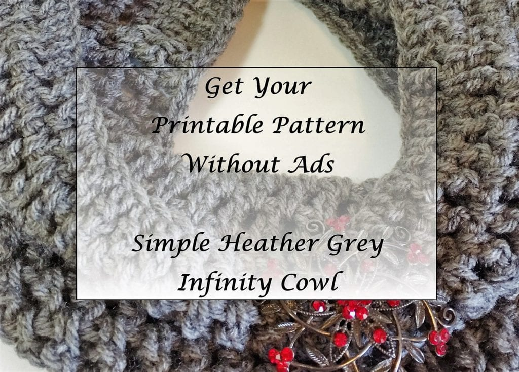 Simple Heather Grey Infinity Cowl Pattern Printable