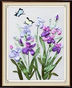 Ribbon Embroidery Kit Orchid Green Leaves