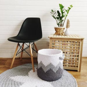 Crochet grey and white basket