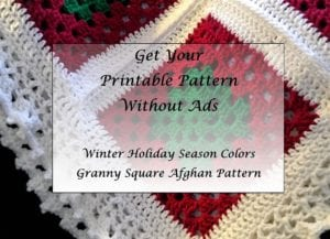 Winter Holiday Season Colors Granny Square Afghan Pattern Printable