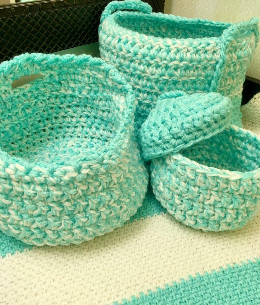 Trio of crochet baskets
