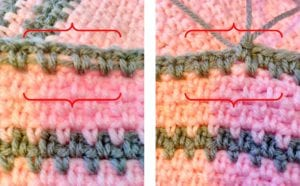 Crocheting over yarn in linen stitch 1