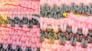 Crocheting over yarn in linen stitch