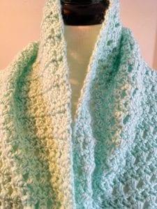 Front Neck area of Misty Crochet Lacy Wrap