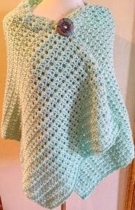Misty Crochet Lacy Wrap Pattern with brooch