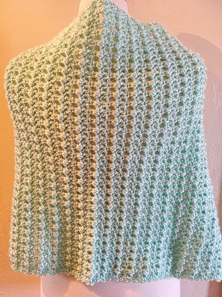 Back view of Misty Crochet Lacy Wrap