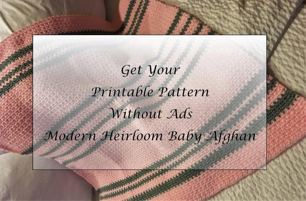Modern Heirloom Baby Afghan Crochet Pattern Printable