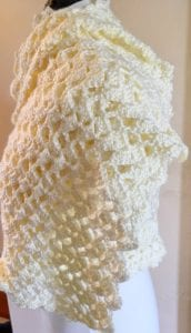 Side View of Crochet Shawl
