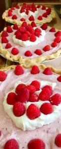 Three Raspberry Chiffon Pies