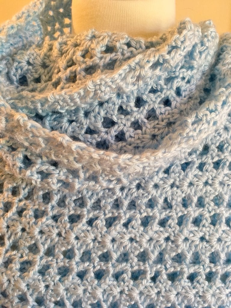 neckline of Lacy Lindsey Shawl