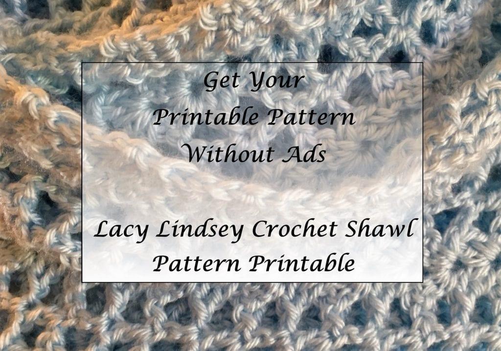 Lacy Lindsey Crochet Shawl Pattern Printable
