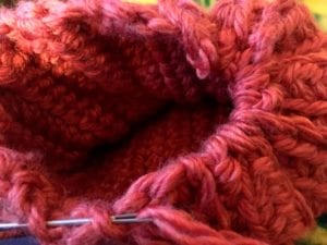 gathering bottom of crochet pumpkin