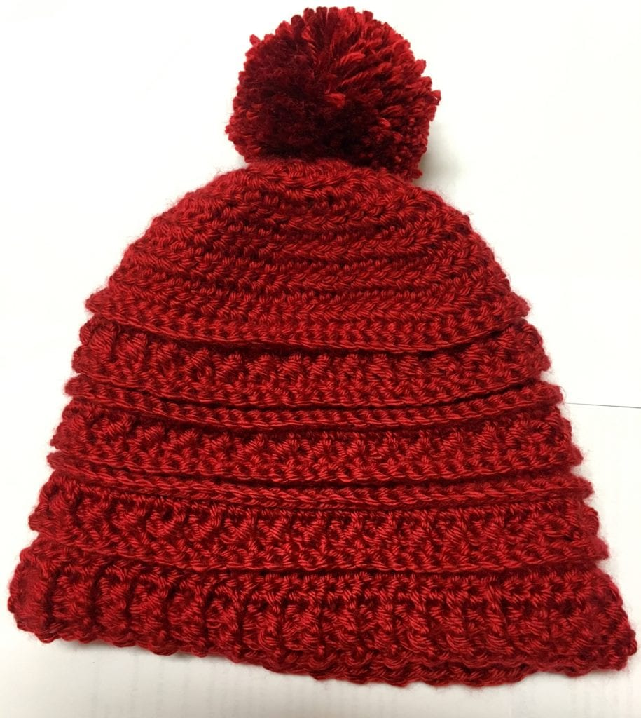 Pom-Pom on Crochet Hat