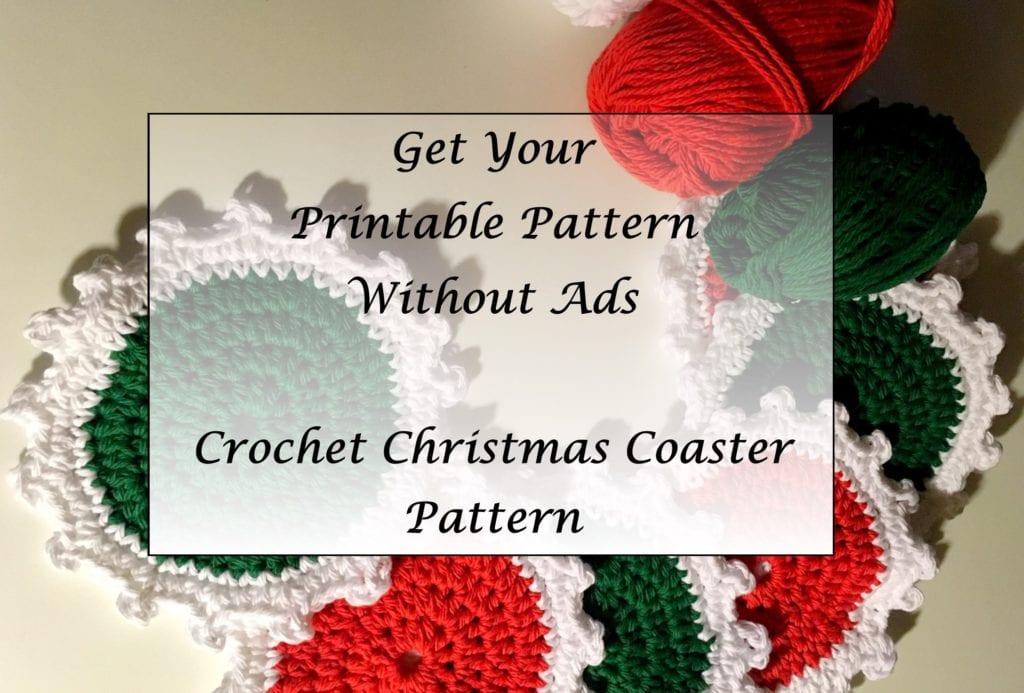 Crochet Christmas Coaster Pattern Printable
