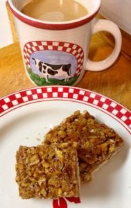 Enjoying Pecan Pie Bars with Coffee