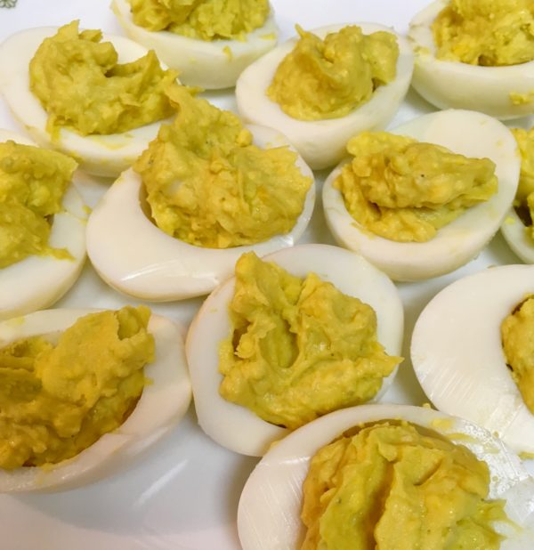 Deviled Eggs filled using teaspoons