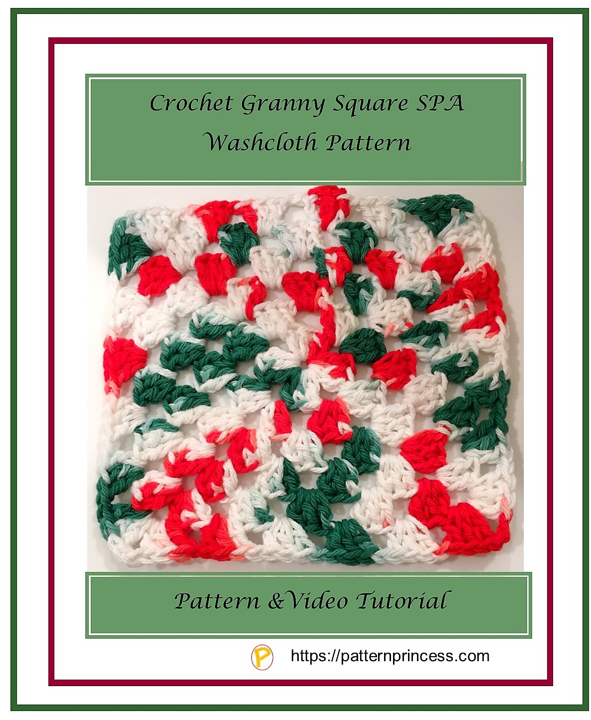 Crochet Granny Square SPA Washcloth Pattern in Holiday color