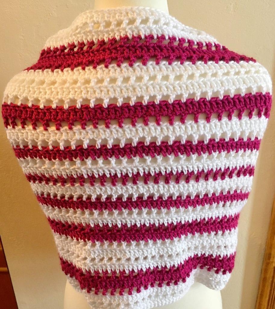 Back View of Blushing Beauty Shawl Crochet Pattern