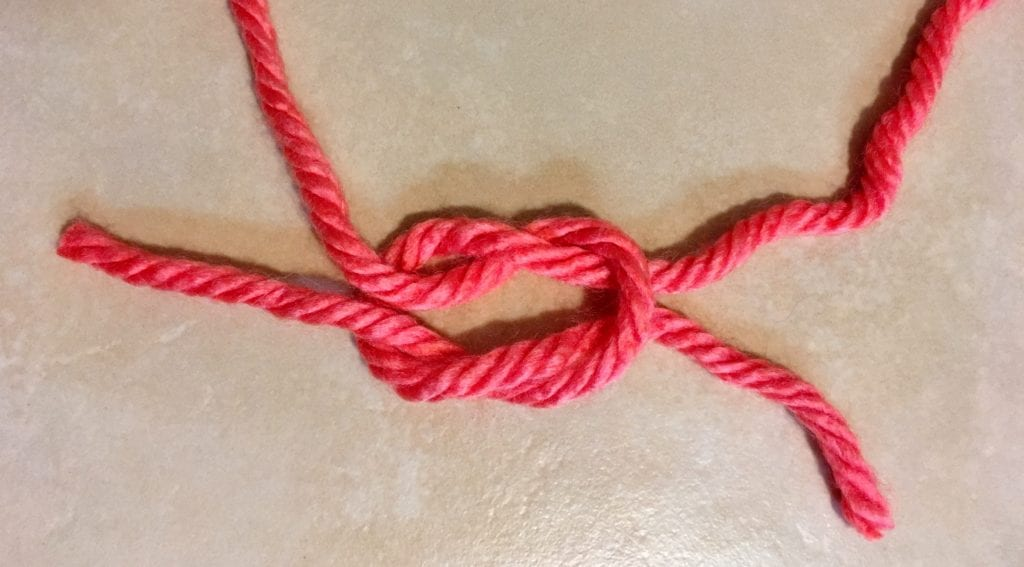 Step 4 of Tying a Square Knot