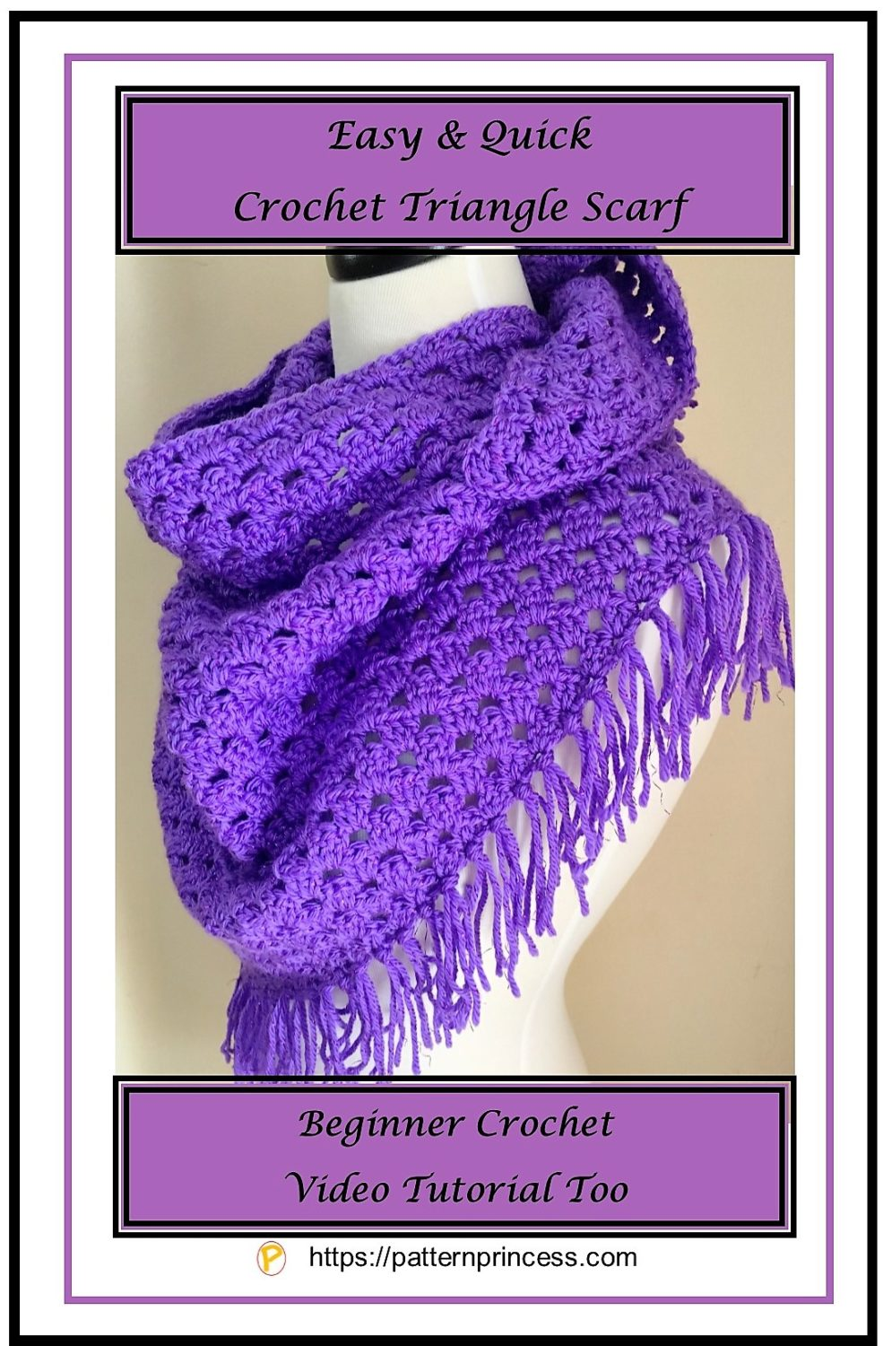 Easy and Quick Crochet Triangle Scarf 1 2
