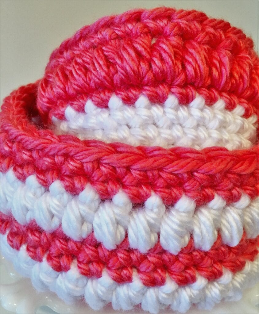 Two Coral Expressions Chunky Crochet Baskets Nestled