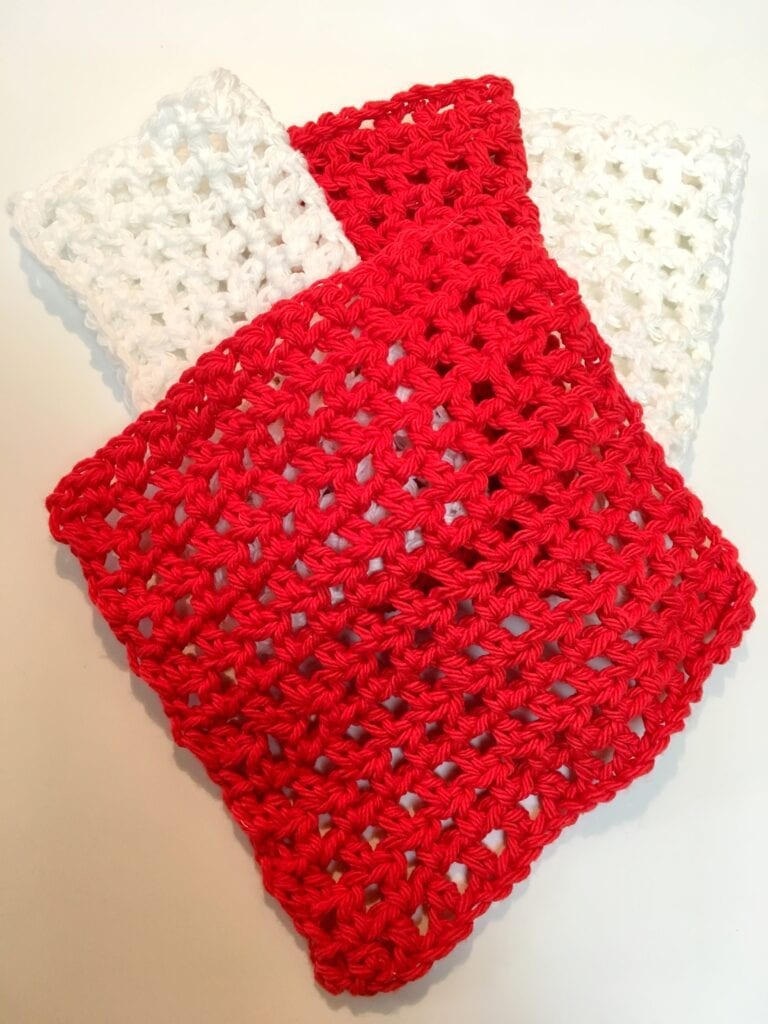 Red and White Simple SPA Washcloth
