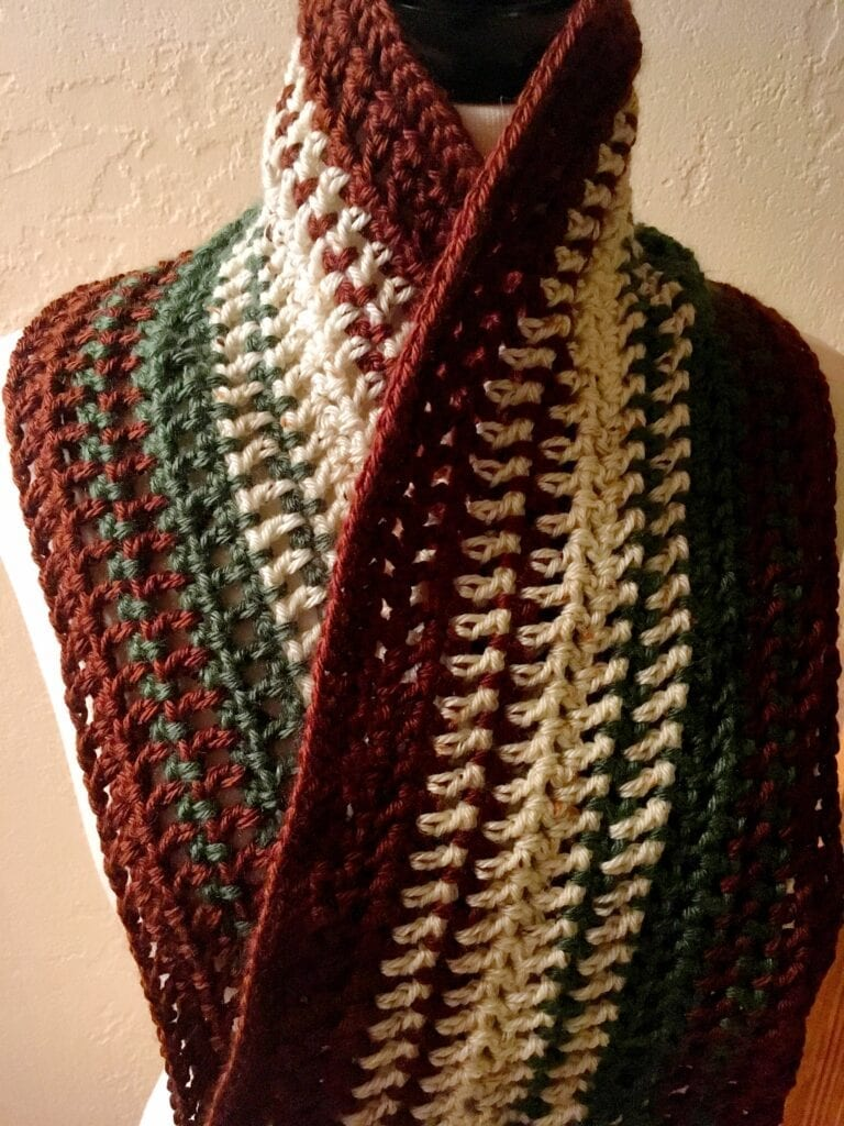 Alpine Meadow Crochet Scarf with Collar Up