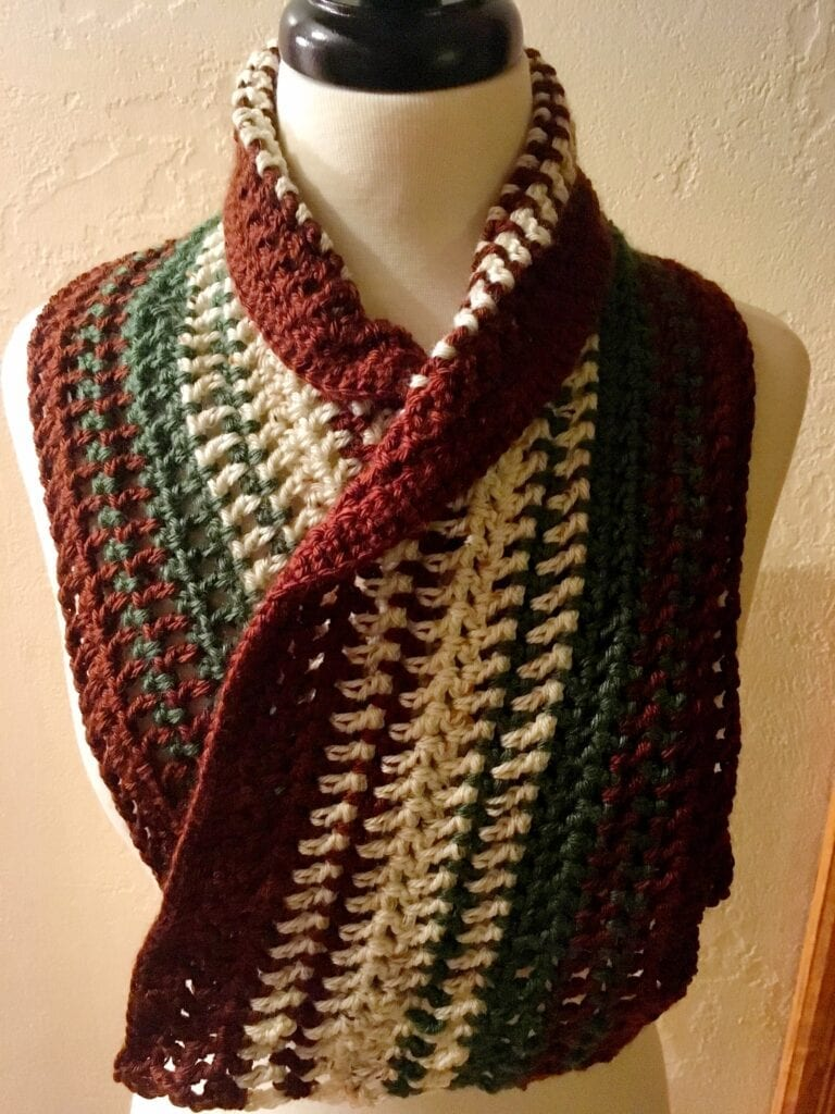 Alpine Meadow Crochet Scarf with Collar Rolled Over