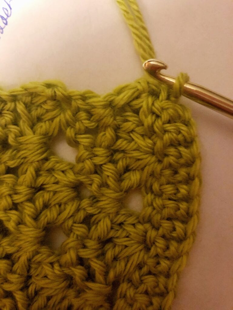 Starting the yarn for the border