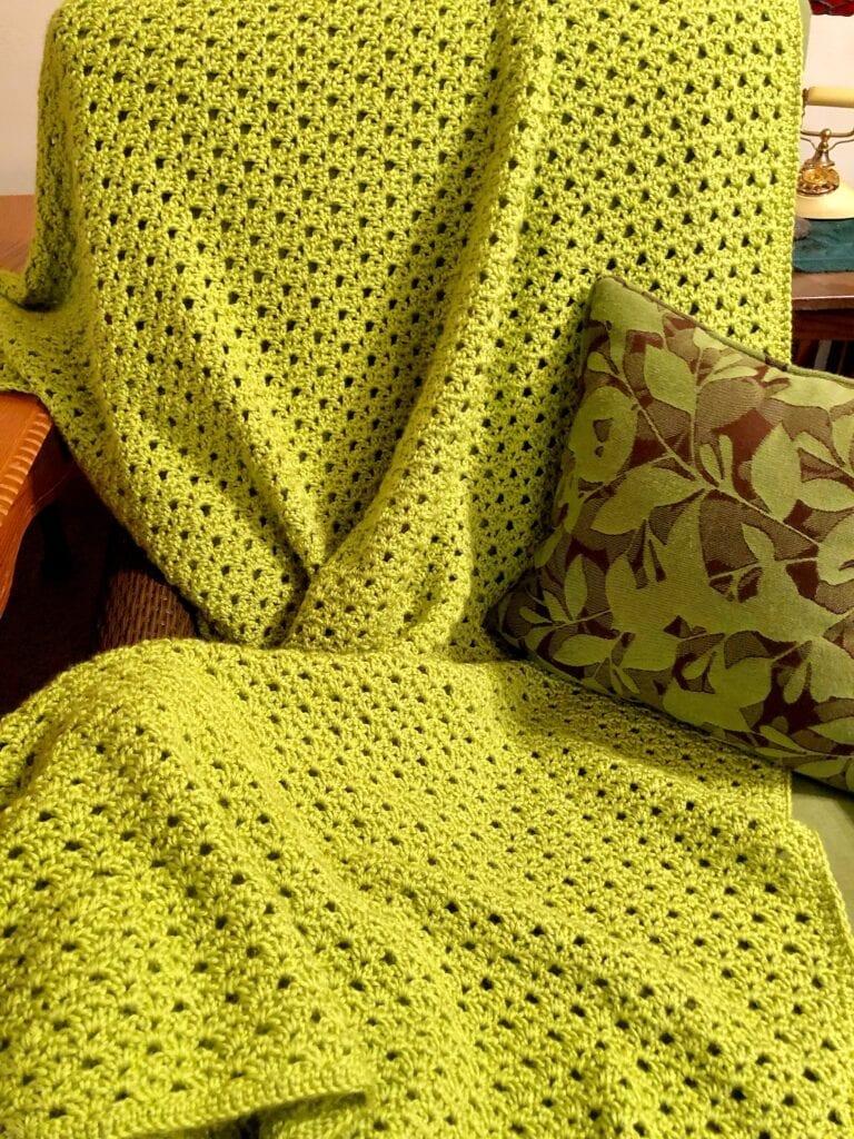 Springtime Crochet Blanket on Chair