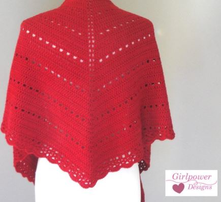GirlpowerDesigns Eyelets and Scallop Lace Shawl Wrap