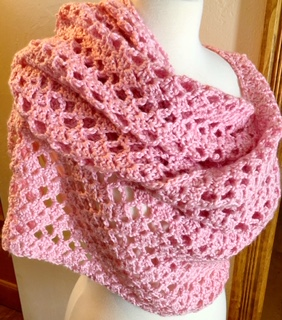 Victoria Lacy Shawl wrapped view
