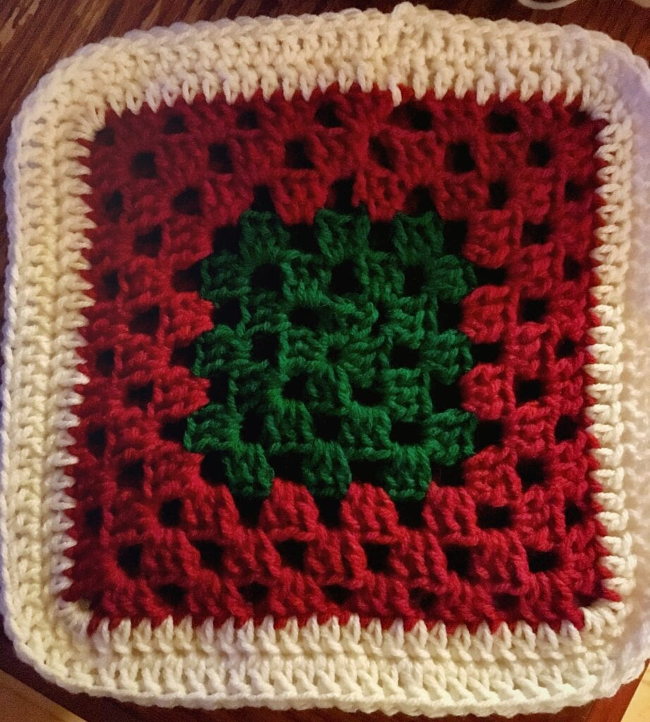 Green, Red, and White Crochet Granny Square